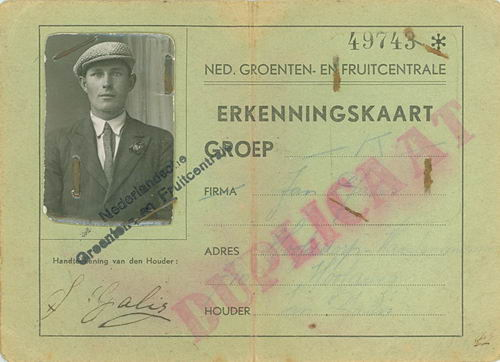 Galis Jan 193_ Erkenningskaaart Ned Groenten- en Fruitcentrale