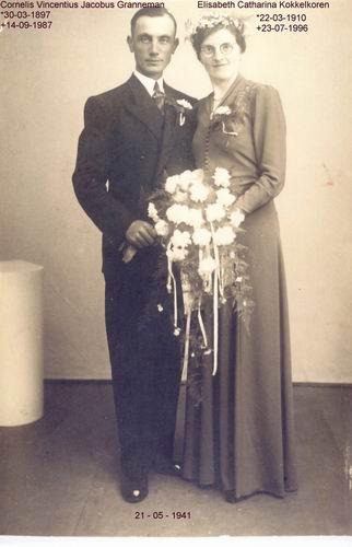 Granneman Cornelis 1941 trouwt E C Kokkelkoren