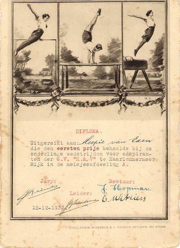 Gymvereniging Kracht en Vlugheid 1938 1e Prijs Meep van Eden