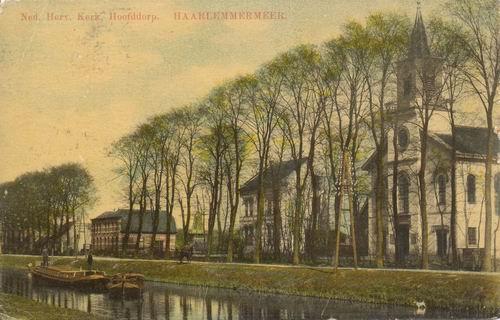 Hoofdweg O 0772-774 1911 NH Kerk ingekleurd