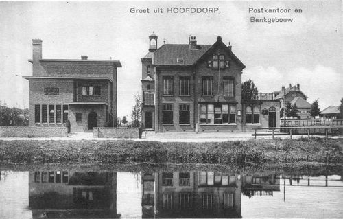Hoofdweg W 0663a 1917 of later Postkantoor Bank en Station