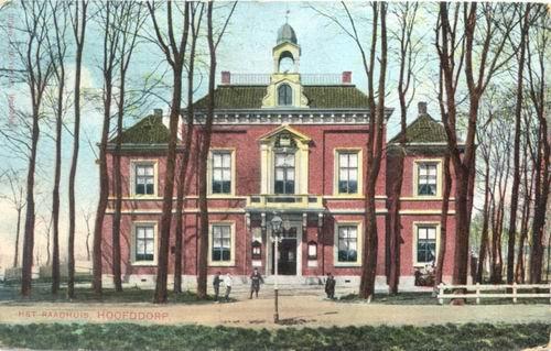 Hoofdweg W 0671 1908 Raadhuis Ingekleurd