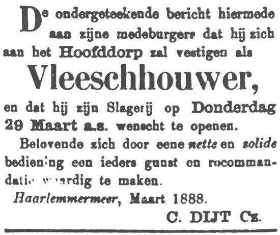 Hoofdweg W 0679 1888 Opening Slagerij C Dijt
