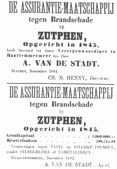 Hoofdweg W 0681 1882 Verzekeringen van de Stadt