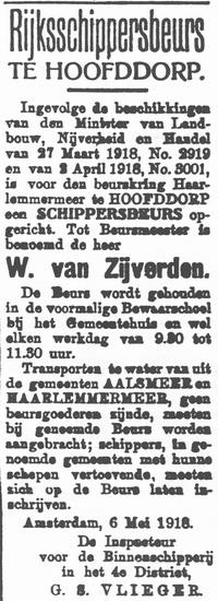 Hoofdweg W 0683 1918 Oprichting Schippersbeurs