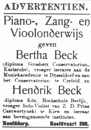 Hoofdweg W 0689 1915 Muziekles bij fam Beck