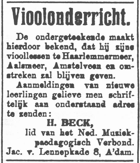 Hoofdweg W 0689 1918 Vioolles bij Hendrik Beck