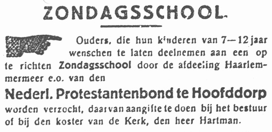 Hoofdweg W 0691 1933 Zondagschool Protestantenbond