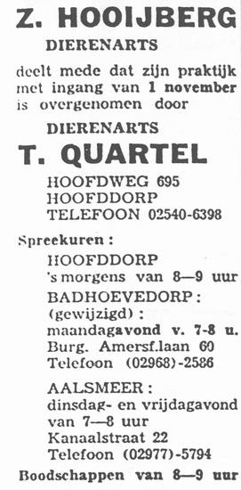 Hoofdweg W 0695 1961 Quartel Dierenarts ipv Hooijberg