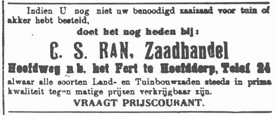 Hoofdweg W 0723 1920 Zaadhandel C S Ran