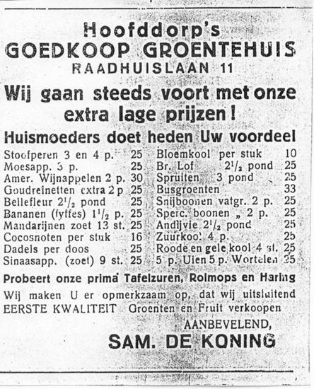 Raadhuislaan 0011 Sam de Koning Advert 1930