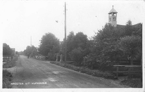 Kromme Spieringweg W 0515 1931 Zicht met NH Kerk