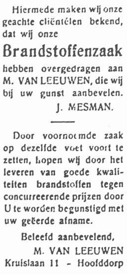 Kruislaan 0011 1933 Brandstoffenhandel M v Leeuwen ipv Mesman
