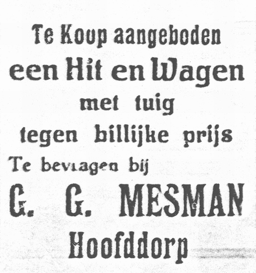 Kruislaan 0013 1926 Paard en wagen te koop bij Mesman