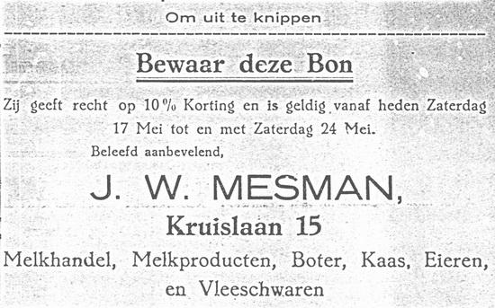 Kruislaan 0015 1924 Kortingsbon Melkboer Mesman