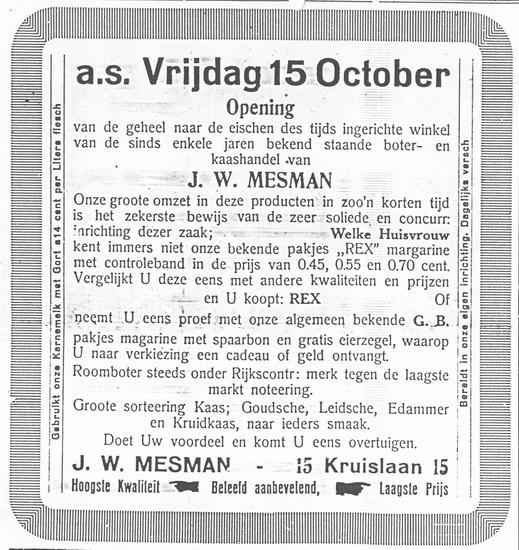 Kruislaan 0015 1926 Opening nieuwe winkel v J W Mesman