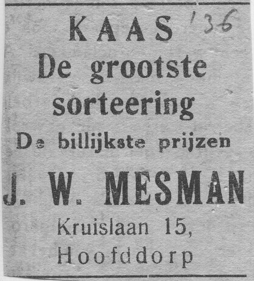 Kruislaan 0015 1936 Advertentie Kaas van J W Mesman