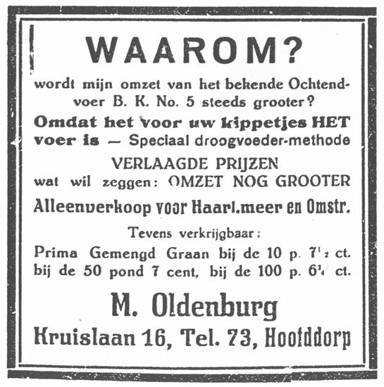 Kruislaan 0016 1926 Kippevoer bij Wed M Oldenburg