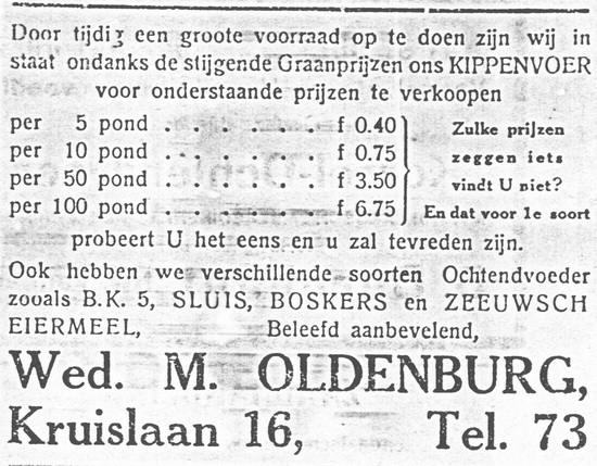 Kruislaan 0016 1928 Kippevoer bij Wed M Oldenburg