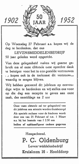 Kruislaan 0016 1952 Kruidenier Oldenburg 50 jaar Jubileum