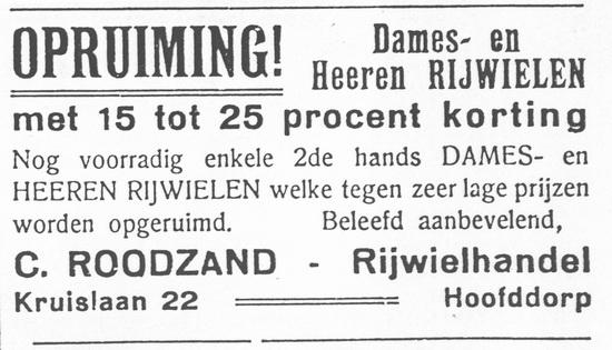 Kruislaan 0022 1930 Rijwielhandel C Roodzand