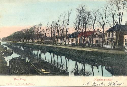 Kruisweg N 1013 ev 1905 Zicht naar W Ingekleurd