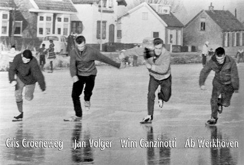 Lijnderdijk 0220- 1963 met schaatsers op de Ringvaart