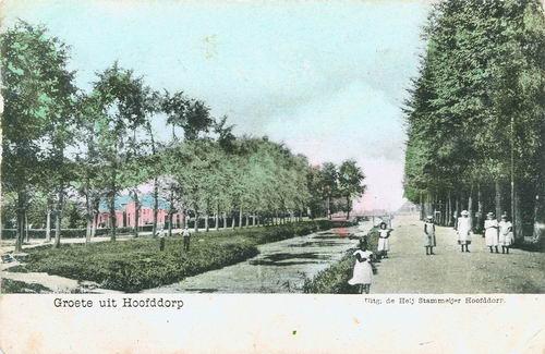 Marktplein C 1905 Kruistocht en Hoofdwegbrug ingekleurd