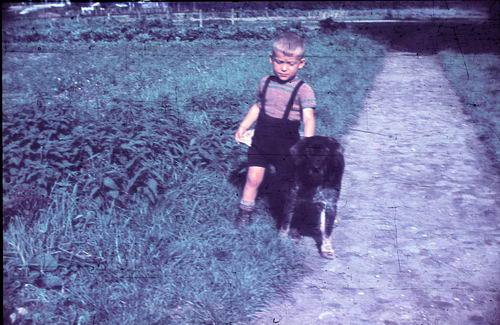 <b>ZOEKPLAATJE:</b>Onbekend 1949-50 Jongen met Hond 68903_2_Exp