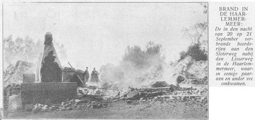 Rijnlanderweg W 1637-1639 1913 Boerderijen Roubos en v Wijk Branden af