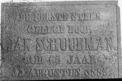 <b>ZOEKPLAATJE:</b>Onbekend Eerste Steen door Jan Schuurman 1883