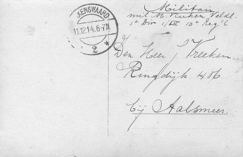 Vreeken Meindert 1890 1914 Soldaat tijdens Mobilisatie_a