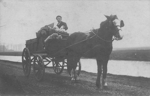 <b>ZOEKPLAATJE:</b>Onbekend Venter met paard en wagen langs Hoofdvaart