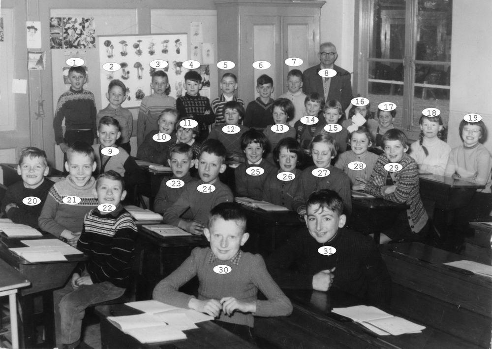 Openbare School 01 1958-59 Klas 3-4 met Meester Ronner_Index