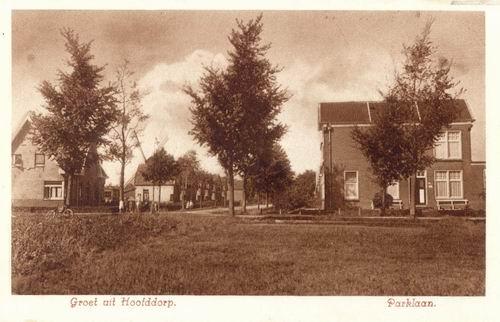 Parklaan 1933 Zicht vanaf Nieuwe Weg bruin