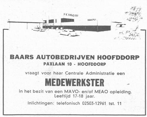 Paxlaan 10 1979 Baars Autobedrijven zoekt Personeel