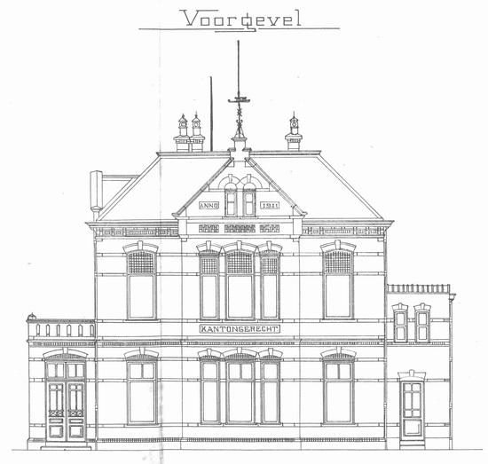 Raadhuislaan 0002 1911 bouwschets Kantongerecht 01 Voor