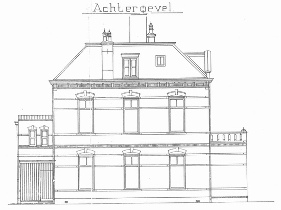 Raadhuislaan 0002 1911 bouwschets Kantongerecht 03 Achter