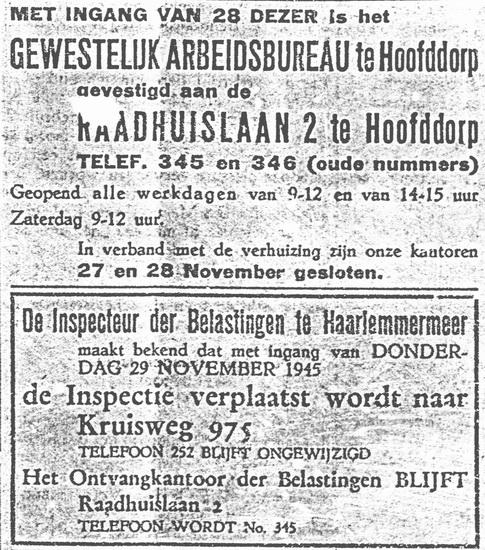 Raadhuislaan 0002 1945 Arbeidsbureau ipv Inspectie Belastingen