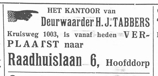 Raadhuislaan 0006 1937 Deurwaarder Tabbers vanaf Kruisweg 1003