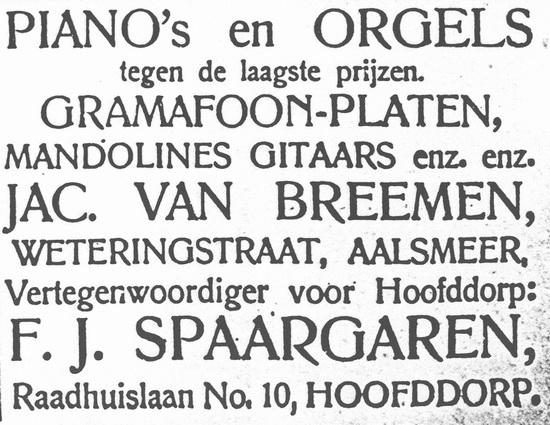 Raadhuislaan 0010 1922 Spaargaren Vertegenwoordiger in Pianos