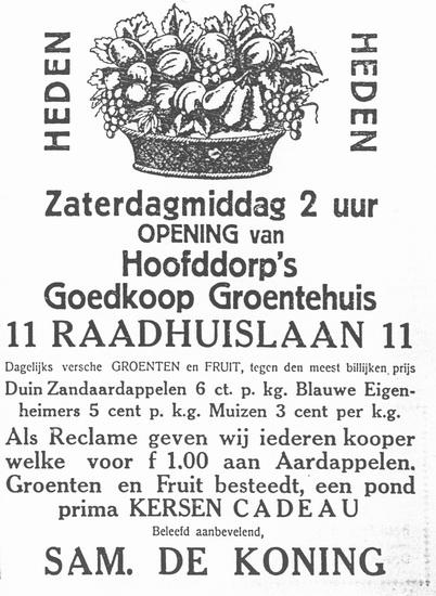 Raadhuislaan 0011 193207 Groentehuis de Koning
