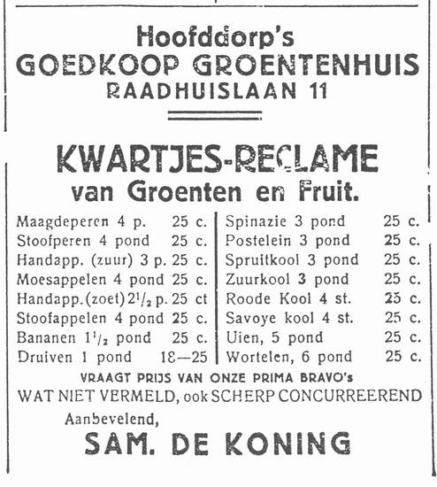 Raadhuislaan 0011 193210 Groentehuis de Koning