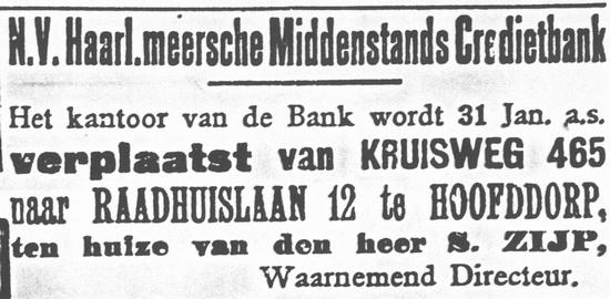 Raadhuislaan 0012 1921 Kantoor Hmeerse Middenstands Kredietbank