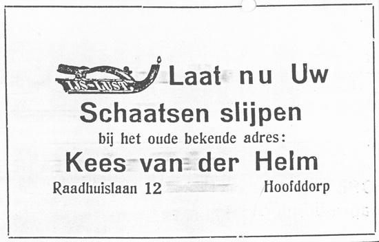 Raadhuislaan 0012 1929 Schaatsenslijpen bij vd Helm