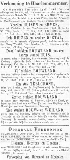 Raadhuislaan 0015-18 1866 Verkoping 14 Huizen