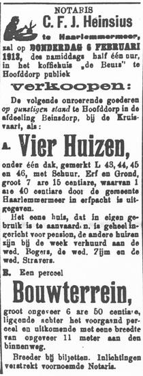 Raadhuislaan 0015-18 1913 Verkoop 4 Huizen en Bouwterrein