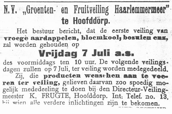Raadhuislaan 0018 1916 Eerste veiling v Aardappelen ea