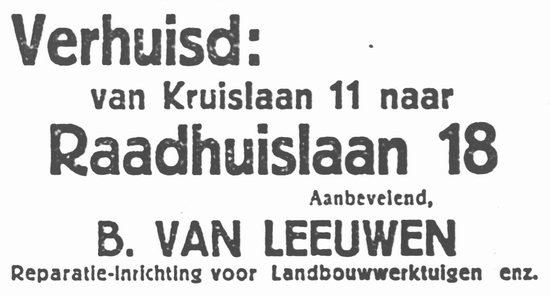 Raadhuislaan 0018 1934 B v Leeuwen vanaf Kruislaan 11