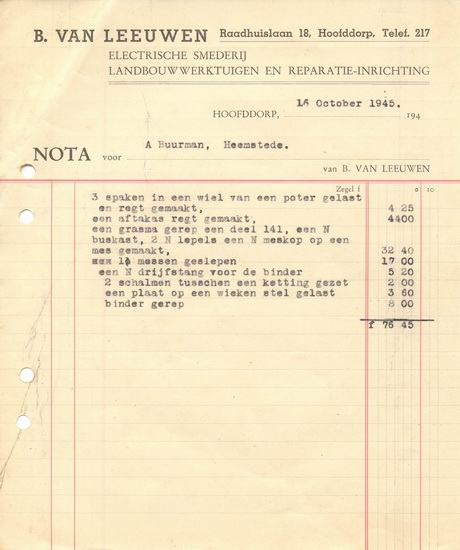 Raadhuislaan 0018 Leeuwen Bruis van 1945 Faktuur aan A Buurman
